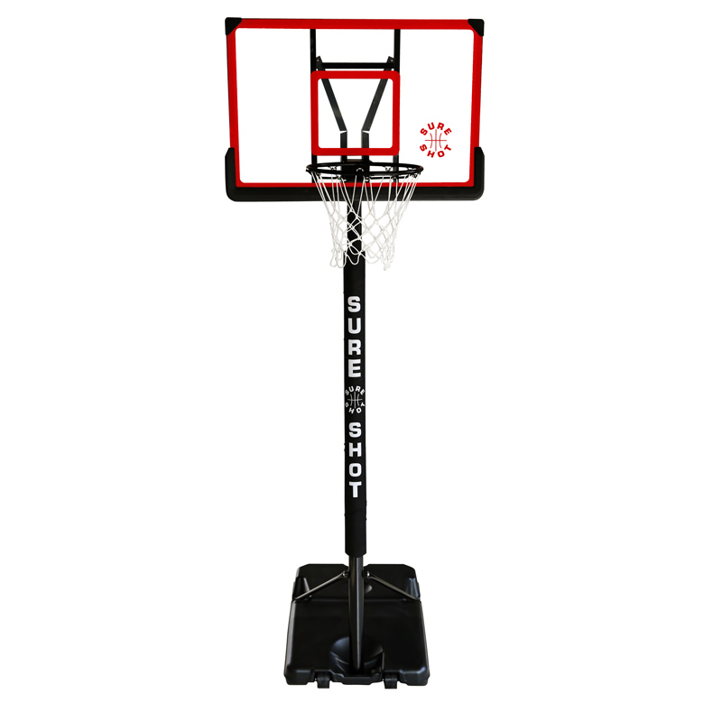Sure Shot Telescopic Portable Basketball Unit with Acrylic Backboard and Pole Padding