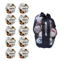 Mitre Ultimatch Hyperseam Sack of 10 Footballs (Sizes 3,4,5)