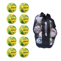 Ball Sack of 10 Mitre Impel Fluo Training Footballs (Soft Touch)