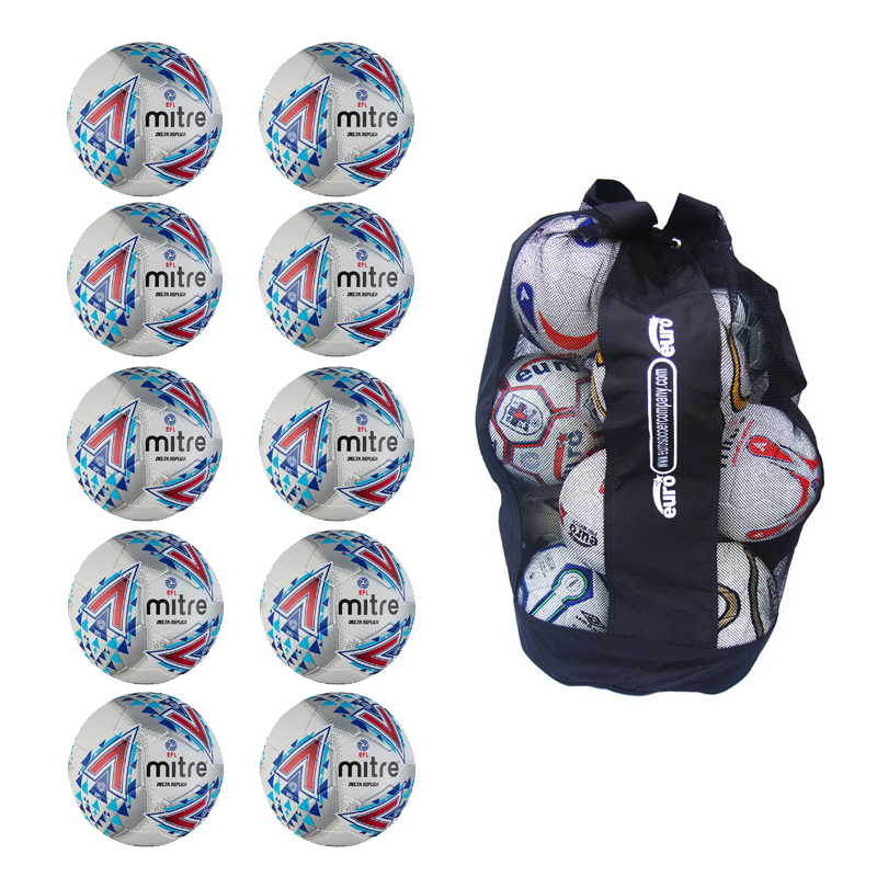 Ball Sack of 10 Mitre Delta EFL Replica Training Footballs (Sizes 3,4,5)