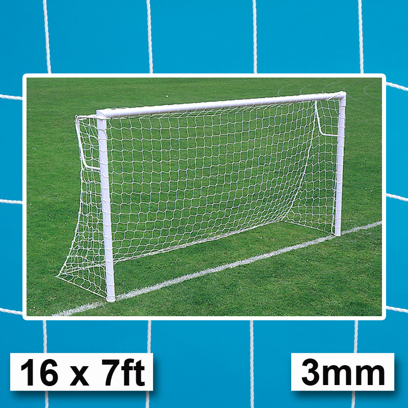 Harrod 3mm Heavy Duty Socketed Football Goal Nets (16 x 7ft / 4.88 x 2.13m) FBL246 (Pair)