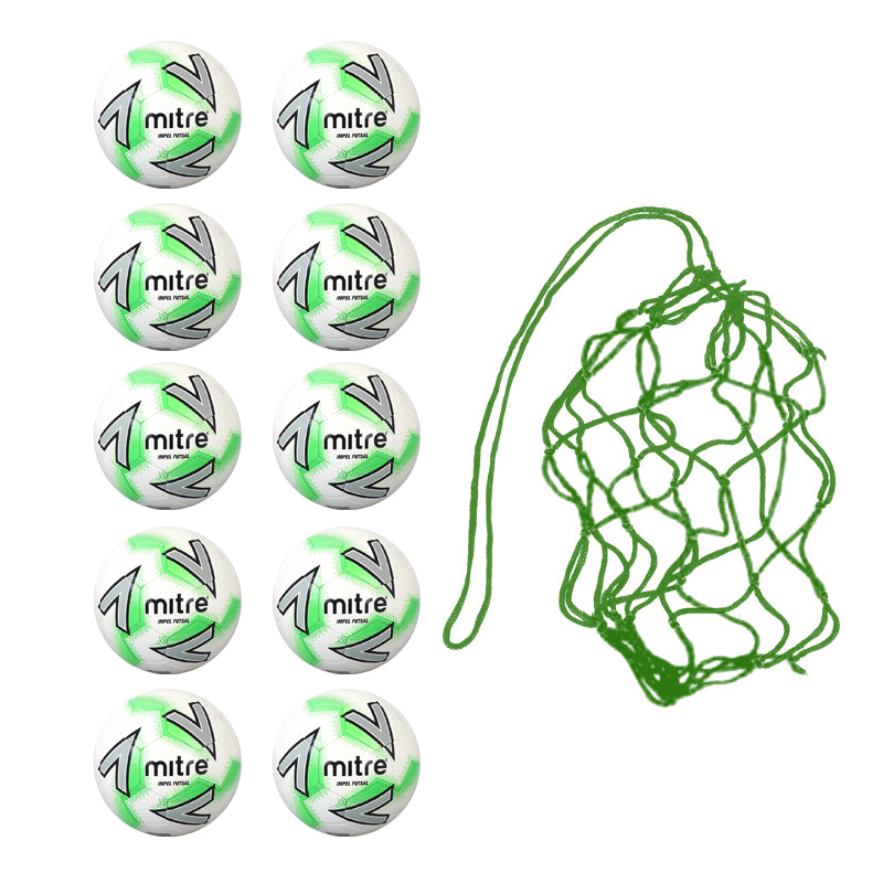 Net of 10 Mitre Impel Futsal Indoor Training Balls
