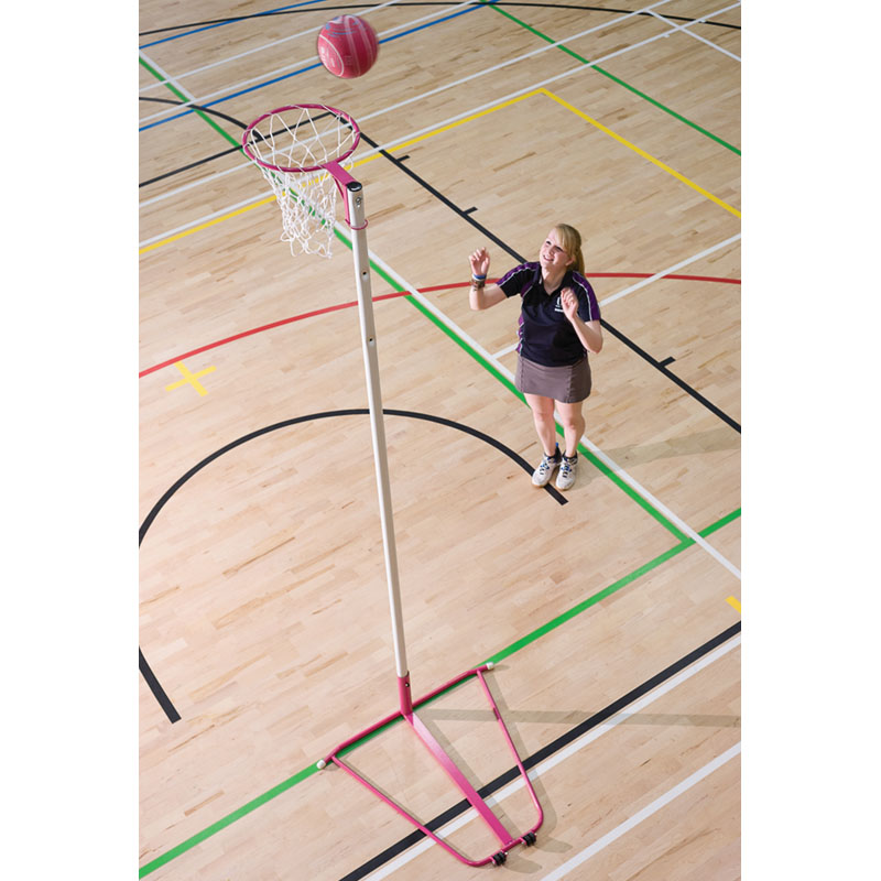 Harrod Wheelaway Pink Netball Posts With 10mm Solid Rings or 16mm Tubular Regulation Rings