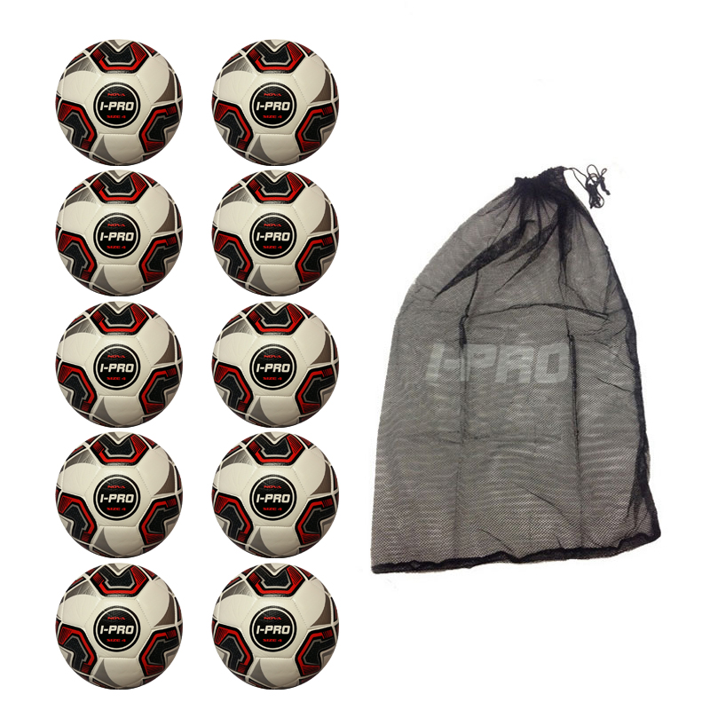 Net of 10 iPro Nova White Training Footballs