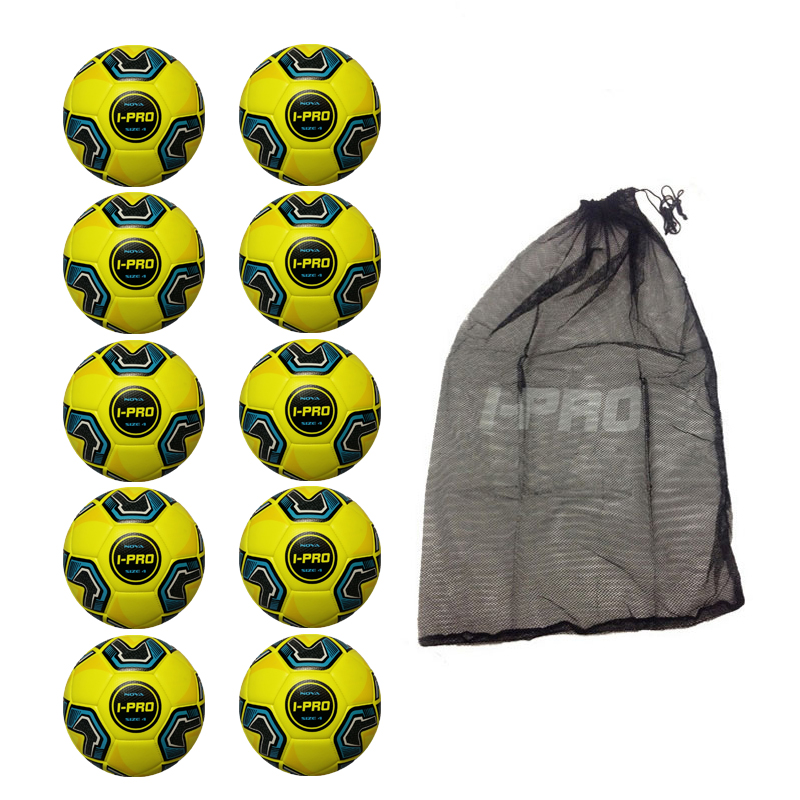 Net of 10 iPro Nova Yellow Training Footballs
